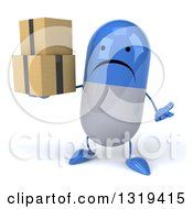 Clipart Of A 3d Unhappy Blue And White Pill Character Shrugging And Holding Boxes Royalty Free Illustration