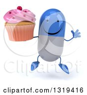 Clipart Of A 3d Happy Blue And White Pill Character Jumping And Holding A Pink Frosted Cupcake Royalty Free Illustration