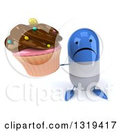 Clipart Of A 3d Unhappy Blue And White Pill Character Holding Up A Chocolate Frosted Cupcake Royalty Free Illustration