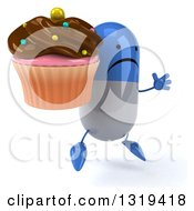 Clipart Of A 3d Unhappy Blue And White Pill Character Facing Right Jumping And Holding A Chocolate Frosted Cupcake Royalty Free Illustration