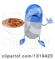 Clipart Of A 3d Unhappy Blue And White Pill Character Jumping And Holding A Pizza Royalty Free Illustration