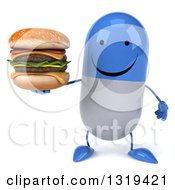 Clipart Of A 3d Happy Blue And White Pill Character Holding A Double Cheeseburger Royalty Free Illustration