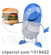 Clipart Of A 3d Happy Blue And White Pill Character Shrugging And Holding A Double Cheeseburger Royalty Free Illustration