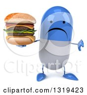 Clipart Of A 3d Unhappy Blue And White Pill Character Giving A Thumb Down And Holding A Double Cheeseburger Royalty Free Illustration