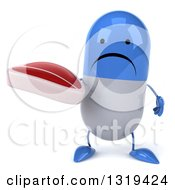 Clipart Of A 3d Unhappy Blue And White Pill Character Holding A Beef Steak Royalty Free Illustration