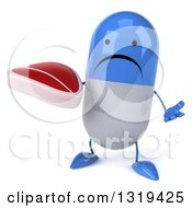 Clipart Of A 3d Unhappy Blue And White Pill Character Shrugging And Holding A Beef Steak Royalty Free Illustration
