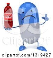 Clipart Of A 3d Unhappy Blue And White Pill Character Holding Up A Finger And Soda Bottle Royalty Free Illustration