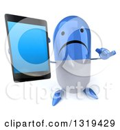 Clipart Of A 3d Unhappy Blue And White Pill Character Holding Up A Smart Cell Phone And Gesturing Call Me Royalty Free Illustration