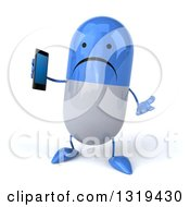 Clipart Of A 3d Unhappy Blue And White Pill Character Shrugging And Holding A Smart Cell Phone Royalty Free Illustration
