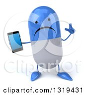 Clipart Of A 3d Unhappy Blue And White Pill Character Holding Up A Finger And A Smart Cell Phone Royalty Free Illustration