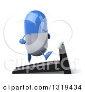 Clipart Of A 3d Happy Blue And White Pill Character Facing Right And Running On A Treadmill Royalty Free Illustration