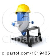 Clipart Of A 3d Unhappy Blue And White Pill Contractor Character Facing Slightly Right Holding Plans Running On A Treadmill Royalty Free Illustration by Julos