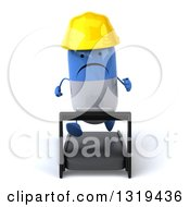 Clipart Of A 3d Unhappy Blue And White Pill Contractor Character Running On A Treadmill Royalty Free Illustration