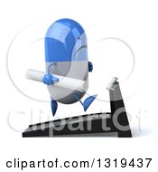 Clipart Of A 3d Unhappy Blue And White Pill Character Holding Plans Facing Right And Running On A Treadmill Royalty Free Illustration