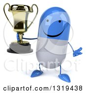 Clipart Of A 3d Happy Blue And White Pill Character Shrugging And Holding A Trophy Royalty Free Illustration