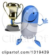 Clipart Of A 3d Happy Blue And White Pill Character Jumping And Holding A Trophy Royalty Free Illustration