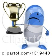 Clipart Of A 3d Unhappy Blue And White Pill Character Holding A Trophy Royalty Free Illustration