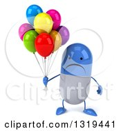 Clipart Of A 3d Unhappy Blue And White Pill Character Holding Party Balloons Royalty Free Illustration