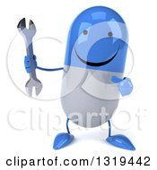 Clipart Of A 3d Happy Blue And White Pill Character Holding And Pointing To A Wrench Royalty Free Illustration