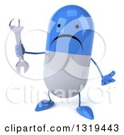 Clipart Of A 3d Unhappy Blue And White Pill Character Shrugging And Holding A Wrench Royalty Free Illustration
