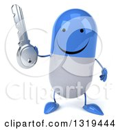 Clipart Of A 3d Happy Blue And White Pill Character Holding A Key Royalty Free Illustration