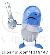Clipart Of A 3d Unhappy Blue And White Pill Character Holding And Pointing To A Key Royalty Free Illustration