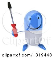 Clipart Of A 3d Happy Blue And White Pill Character Holding Up A Screwdriver Royalty Free Illustration