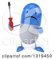 Clipart Of A 3d Unhappy Blue And White Pill Character Holding And Pointing To A Screwdriver Royalty Free Illustration