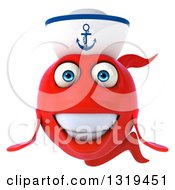 Clipart Of A 3d Red Sailor Fish Royalty Free Illustration