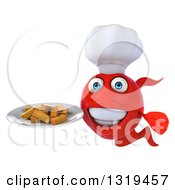 3d Red Fish Chef Holding A Plate Of Fries