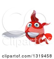 3d Red Fish Holding A Clean Plate