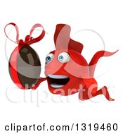 3d Red Fish Facing Left And Holding A Chocolate Easter Egg