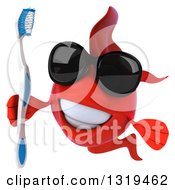 3d Red Fish Wearing Sunglasses And Holding A Toothbrush