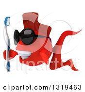 3d Red Fish Wearing Sunglasses Facing Left And Holding A Toothbrush