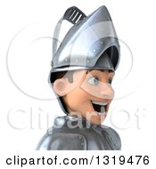 Clipart Of A 3d Caucasian Male Armored Knight Avatar Facing Right Royalty Free Illustration