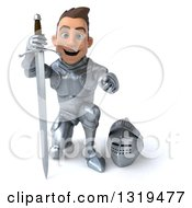 Clipart Of A 3d Caucasian Male Armored Knight Pointing Outwards And Kneeling With A Sword Royalty Free Illustration