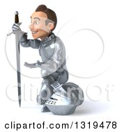 Clipart Of A 3d Caucasian Male Armored Knight Gesturing And Kneeling With A Sword Royalty Free Illustration