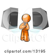 Orange Business Man Standing In Front Of Servers Clipart Illustration