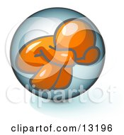Shy Orange Man Hiding Inside A Bubble Clipart Illustration by Leo Blanchette