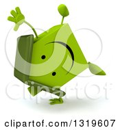 Clipart Of A 3d Happy Green House Character Cartwheeling Royalty Free Illustration