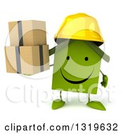 Clipart Of A 3d Happy Green House Contractor Character Wearing A Hardhat Holding Boxes Royalty Free Illustration
