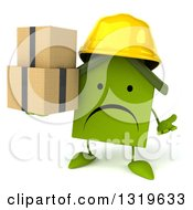 Clipart Of A 3d Unhappy Green House Contractor Character Wearing A Hardhat Shrugging And Holding Boxes Royalty Free Illustration