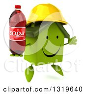 Clipart Of A 3d Happy Green House Contractor Character Wearing A Hardhat Facing Slightly Right Jumping And Holding Up A Soda Bottle Royalty Free Illustration