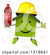 Clipart Of A 3d Happy Green House Contractor Character Wearing A Hardhat Jumping And Holding Up A Soda Bottle Royalty Free Illustration