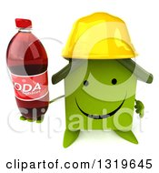 Clipart Of A 3d Happy Green House Contractor Character Wearing A Hardhat Holding Up A Soda Bottle Royalty Free Illustration