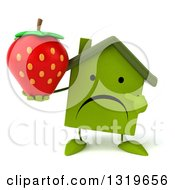 Clipart Of A 3d Unhappy Green House Character Holding And Pointing To A Strawberry Royalty Free Illustration