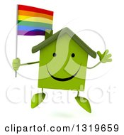 Clipart Of A 3d Happy Green Home Character Jumping And Holding A Rainbow Flag Flag Royalty Free Illustration