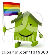 Clipart Of A 3d Happy Green Home Character Walking And Holding A Rainbow Flag Flag Royalty Free Illustration