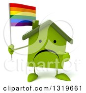 Clipart Of A 3d Unhappy Green Home Character Holding And Pointing To A Rainbow Flag Flag Royalty Free Illustration