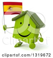Clipart Of A 3d Happy Green Home Character Walking Slightly Left And Holding A Spanish Flag Royalty Free Illustration